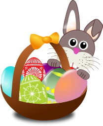 A bunny rabbit and a basket of Easter eggs