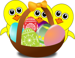 Three chicks and a basket of Easter eggs