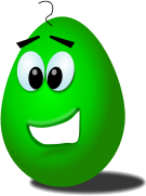 A green egg with a smiley face