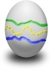 An egg painted with green, yellow and blue lines