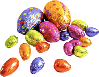 Many chocolate Easter eggs