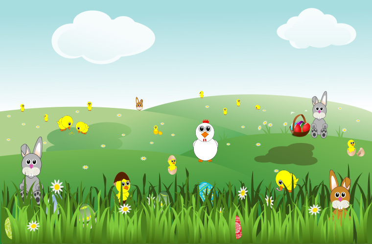An Easter landscape, with chicks, bunnies and eggs
