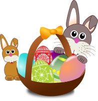 A rabbit, with her baby, and a basket of painted eggs