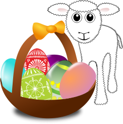 A basket of eggs and a lamb