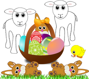 An Easter scene, with lambs, bunnies, a chick and a basket of coloured eggs
