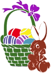 A basket of painted eggs and a bunny