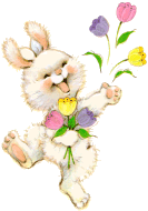 A bunny with flowers