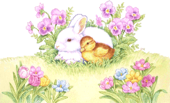 A bunny and a chick amongst flowers
