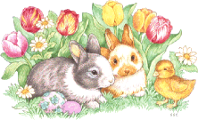 Two bunnies and a chick with flowers