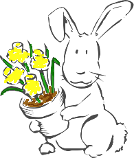 A bunny rabbit with a flower pot