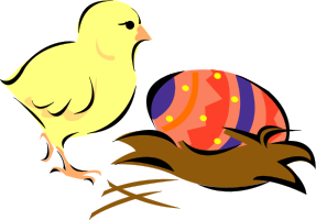 A chick with an Easter egg in a nest