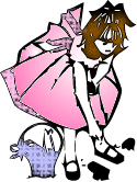 A girl in a pink dress with a basket