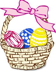 A basket of painted eggs
