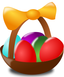 A basket of coloured eggs