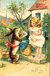 A rabbit giving an egg to a girl