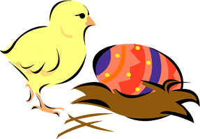 A chick and a painted egg
