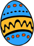 A brightly decorated Easter egg
