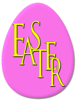 An egg saying 'Easter'