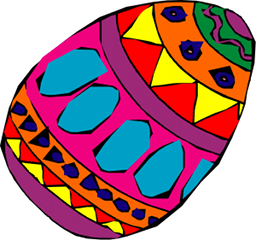 A brightly painted egg