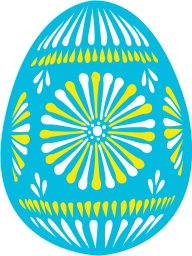 A blue decorated egg