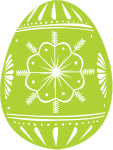 A green and white decorated egg
