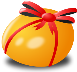 An egg tied up with a ribbon