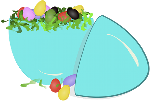 Many colourful eggs inside a big blue egg