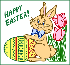 A bunny rabbit and a 'Happy Easter!' message