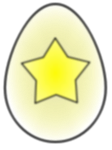 A yellow egg with a star
