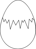 An egg with a crack, about to hatch