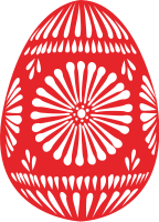A red and white egg
